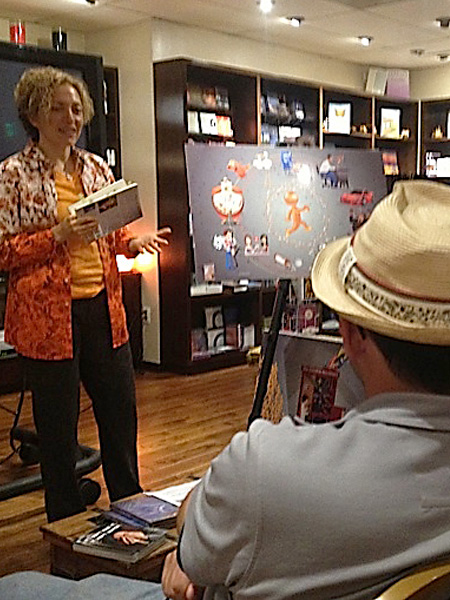 Sofia Wellman facilitates a workshop in Alice's Quiet Mind Bookstore at Michael Beckwith's Agape International Spiritual Center