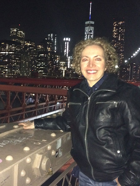 "Sofia Wellman enjoys the Brooklyn Bridge and its beautiful view during a post production trip to NYC for the film ""What's Love Got To Do With It"" Film by Sofia Wellman"