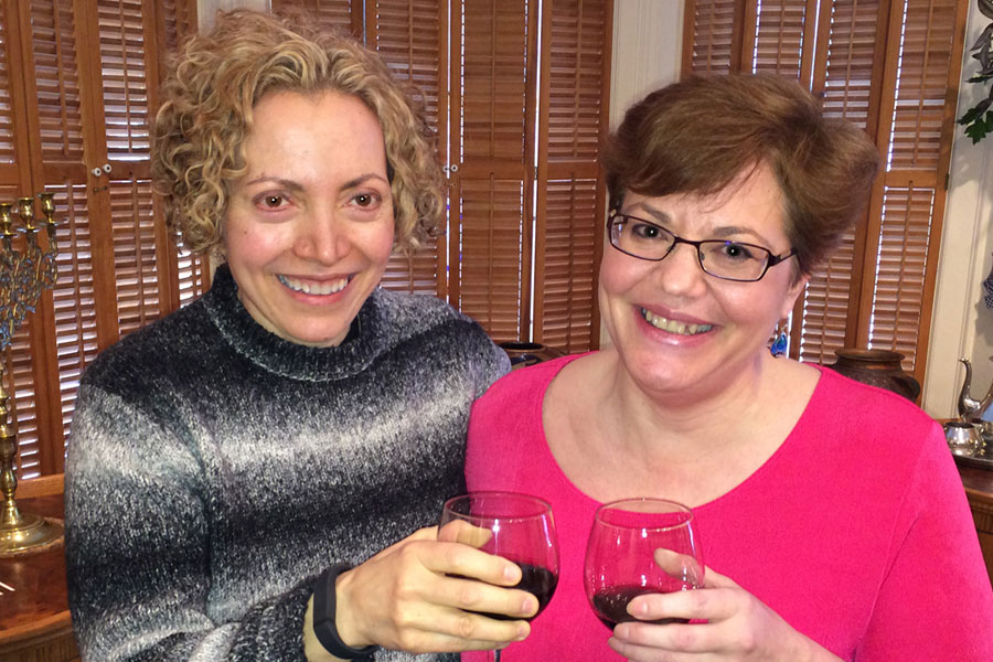 "Sofia Wellman and Randi Kreger, ""Stop Walking on Eggshells,"" post interview glass of wine after filming ""What's Love Got To Do With It"" Film by Sofia Wellman"